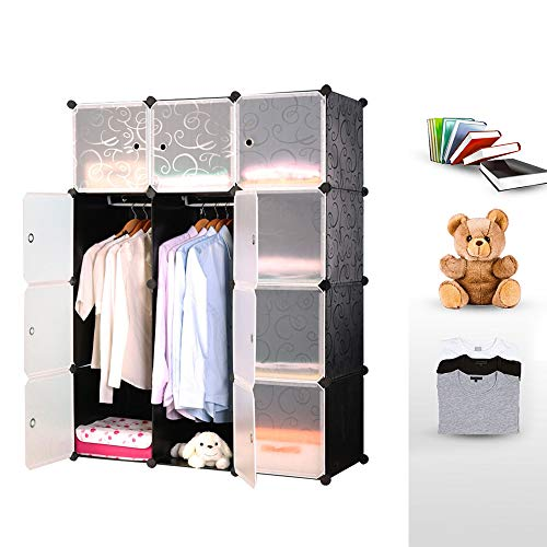 Hengda Schuhregal Regalsystem mit Tür aus Kunststoff modularer Kleiderschrank, Steckregal Würfel, einfache Montage, für Kleidung Spielzeug Kinderzimmer, Schwarz geprägt