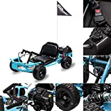 FRP 2021 51CC, 2-Stroke (Air-Cooled) Kids Gas Go Kart, Support Up to 175 lbs, Max Speed 20 mph, Gas Go Kart W/Rear Disc Brake, Go Cart For Kids Axle Mounted Vented Disc (Blue)