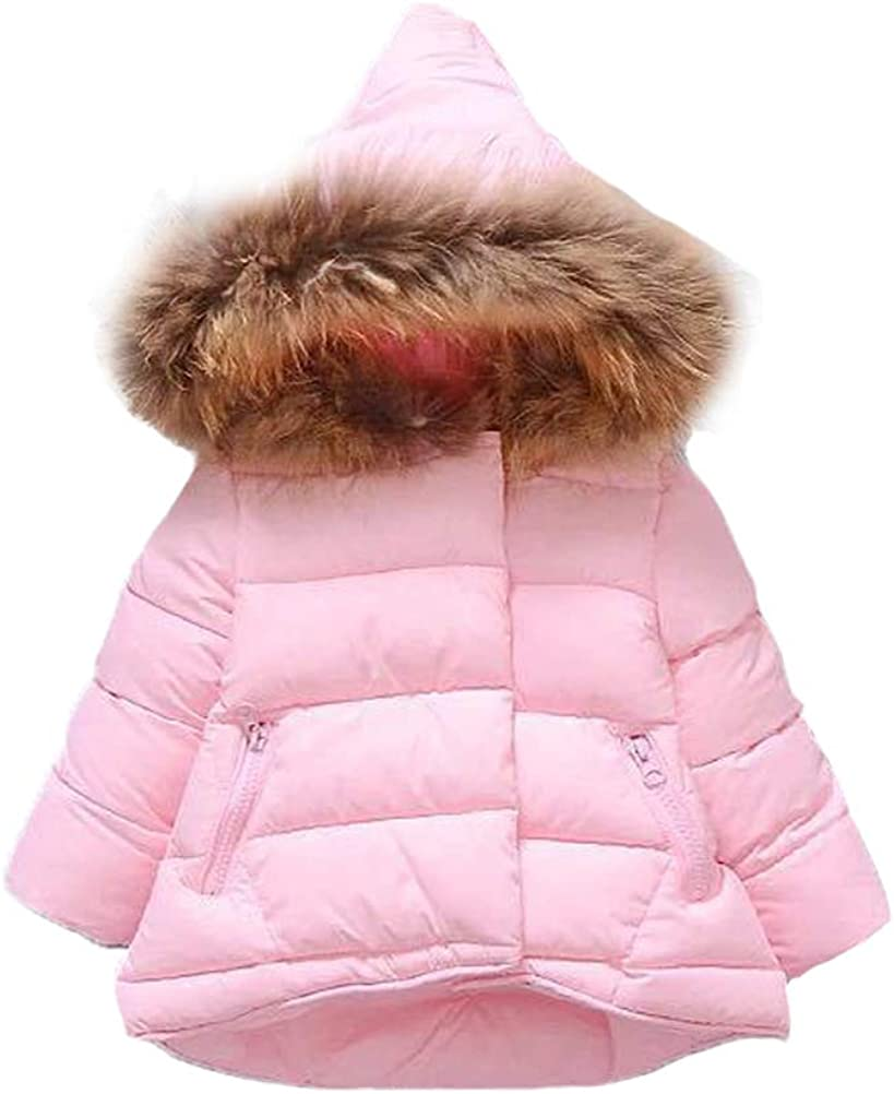 Mallimoda Baby Boys Girls Down Jacket Toddler Winter Warm Puffer Down Coat Cotton Hooded Fur Snowsuit