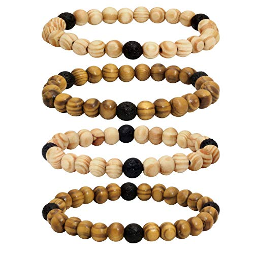 Milakoo 4Pcs Lava Rock Stone Beads Essential Oil Diffuser Bracelet for Men Women Wood Beads Bracelet