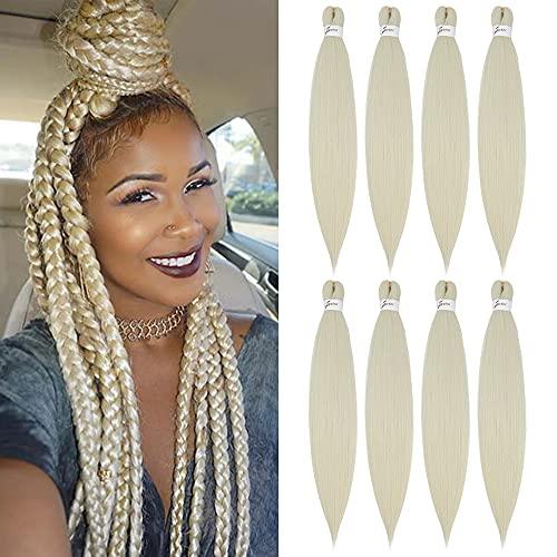 X-Tress Blond Extension de Cheveux 8 pièces 613 Cheveux Extension Naturel Mèche Pré étiré Eeffet Naturel Cheveux Tresse Blond Mèche Crochet Box Braid Africaine Facile à Tresser Spectra Cheveux(#613)