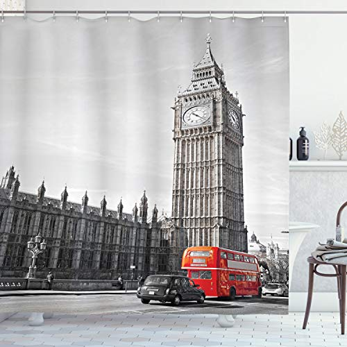 """Ambesonne London Shower Curtain, Big Ben Tower Begining of Westminster Bridge with Black Cab and Red Bus Image, Cloth Fabric Bathroom Decor Set with Hooks, 75"""" Long, Black Grey"""