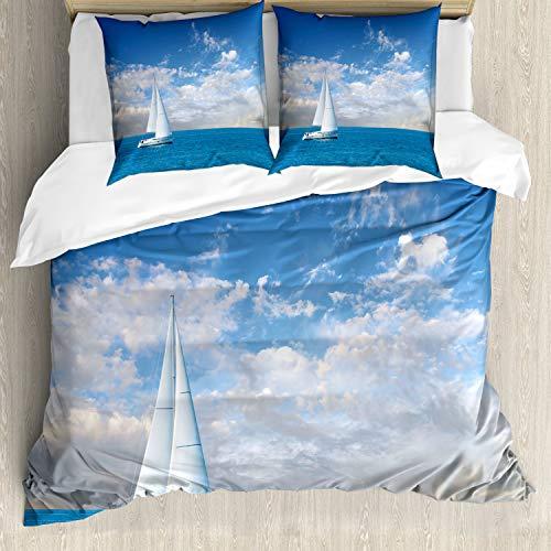 ABAKUHAUS Oceano Funda Nórdica, Barco de Vela Moderna en el mar, Decorativo, 3 Piezas con 2 Funda de Almohada, 155 x 220 cm, Cielo Azul y Blanco