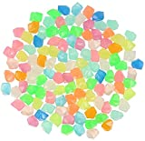 300 PCS Piedras brillantes, resplandor en Gardon Oscuro Garderes Luminosas rocas para Pasarelas de jardín Decoración, Tanque de pescado acuario, Adornos del parque, etc., Grava de resina decorativa
