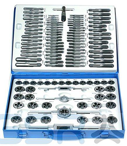 GSR PROFI Gewindeschneider Gewindeschneidsatz, 110-teilig, Zoll- und metrische Gewinde, Aus legiertem Werkzeugstahl, in stabiler Metallkassette, Außen- und Innengewinde