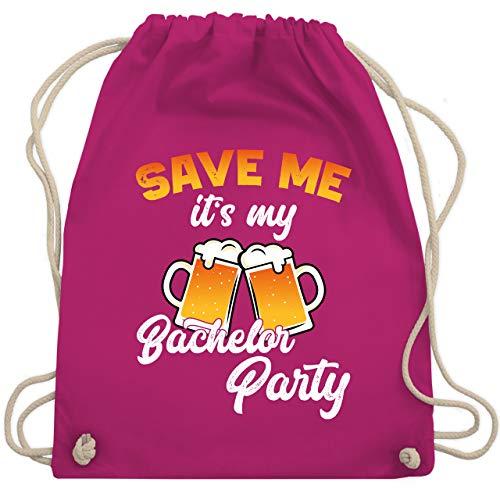 Shirtracer JGA Junggesellenabschied Männer - Save me it's my Bachelor Party Bier - Unisize - Fuchsia - Fun - WM110 - Turnbeutel und Stoffbeutel aus Baumwolle