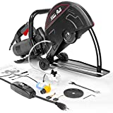 XtremepowerUS 2800W Electric 14' Cutter Circular Saw Wet/Dry Concrete Saw Cutter Guide Roller w/Water Line Attachment (No-Blade) (Renewed)