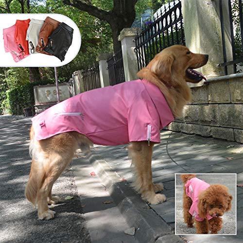 Lovelonglong Coole Hunde Lederjacke, Warme Mäntel Hunde Winddicht Kaltes Wetter Mäntel für Große Mittlere Kleine Hunde, Beagle Kleidung Rose Pink L-S