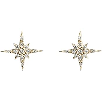 14K Yellow Gold Plated Round AAA Cubic Zirconia Celestial Cluster Mini Stud Earrings Summer Sale