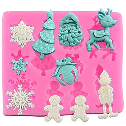 Lumanuby. Outils de Boulangerie à gâteau en Silicone Pudding Faite à la Main Savon Moule à Muffins Forme de Tasse d'élan Père Noël pour fête de Noël dîner Moule à Cake Taille 7.9 * 6.6 cm