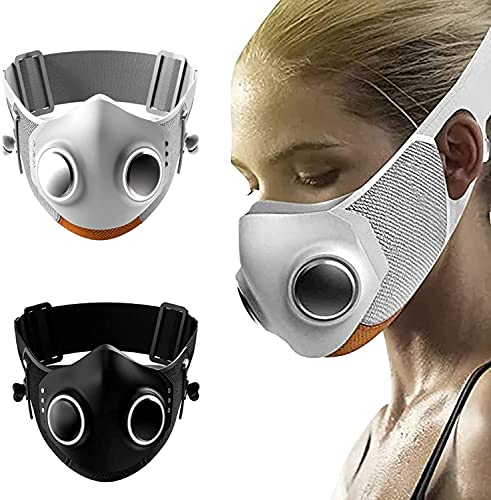 High-Tech Face-Mask, High-tech Face Mask with Breathing Valve, Adult Anti-fog Face Shield, Reusable Safety Face Shields Respirator for Adult (Black+White)