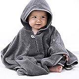 Mabyen Baby Poncho - Babybademantel Kapuzenbademantel Badehandtuch 100% Baumwolle Grau & Hellgrau