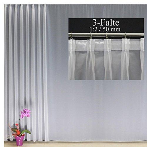 EASYHomefashion Hochwertige Fertiggardine Voile Store mit Faltenband&Bleiband 3-Falten-KRÄUSELBAND 1:2/50 mm, versch. Größen, 85 x 300 cm (Höhe x Breite)