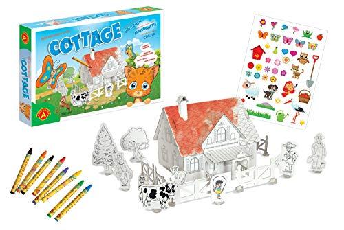 Alexander 2355 Casa y el Gato, 116 Piezas, puzle 3D de 38 Piezas de cartón, con 42 Pegatinas, 8 Ceras, Granja para Manualidades y Pintar, para niños a Partir de 5 años