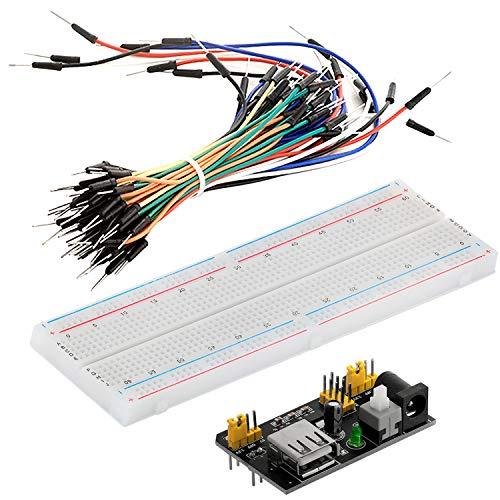 AZDelivery MB 102 Breadboard Kit - 830 Breadboard, Netzteil Adapter 3,3V 5V, 65Stk Steckbrücken kompatibel mit Arduino inklusive Ebook!