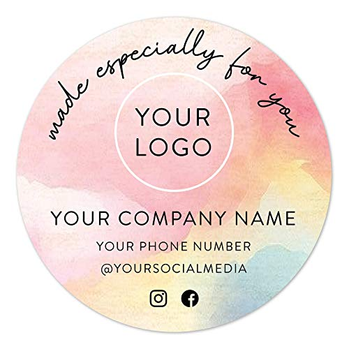 60-Pack Round Personalized Stickers - Custom Vinyl Sticker for Small Business Logo - Labels for Cafe, Boutique, Packaging, Handmade, Promotional Items (Watercolor, 2x2)