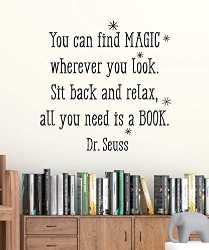 Introductieteken Alles wat je nodig hebt, is een boek muursticker Dr. Seuss leeshoek boekenkast bibliotheek lezen