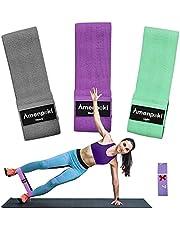 Elastische Banden Voor Billen, Elastische Spierbanden in Antislip Fitnessstof met 3 Niveaus, Antislipweerstand Voor Benen en Billen / Pilates / Yoga / Kracht / Rekken