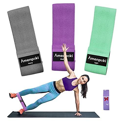 Fasce Elastiche per Fitness+Cintura Yoga, Fasce Muscolari Elastiche in Tessuto Antiscivolo per Fitness con 3 Livelli, Resistenza Antiscivolo per Gambe e Glutei / Pilates / Yoga / Forza / Stretching
