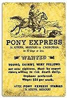 ポニーエクスプレスセントジョセフミズーリ州からカリフォルニア州の再現、ブリキの看板ヴィンテージ面白い生き物鉄の絵画金属板ノベルティ