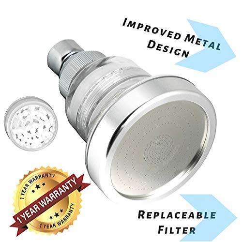Water Softener Shower Head - Hard Water Filter - Chlorine & Fluoride Filter - Filtered Shower Head - High Pressure Shower Head - Improved Design WITH METAL COMPONENT PARTS