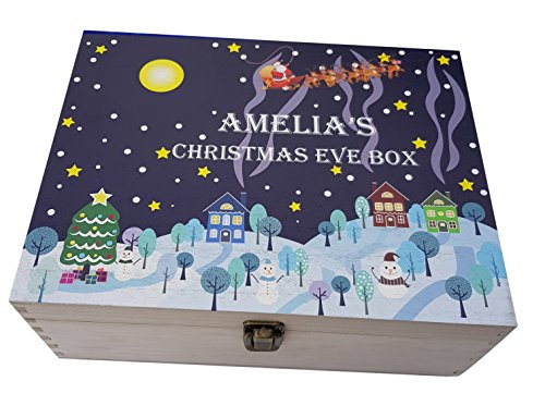 Personalised Printed Wooden Christmas Eve Treat Box Snow Scene Design