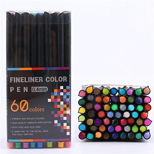 WH-IOE Stylo-marqueur Couleur Stylos à Pointe Fine Ligne Dessin Pen Art Marqueurs Dessin Peinture Pen Set Taille Libre Parfait pour Les Croquis de Coloration d'illustrat