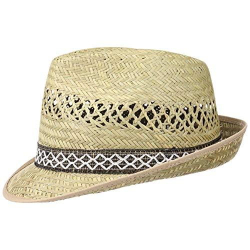 Unbekannt Erntehelfer Strohhut (Sonnenschutz) für Damen und Herren, Cooler und modischer Sonnenhut im Trilby Look für den Sommer am Strand oder im Urlaub, Größe 57, Farbe Natur