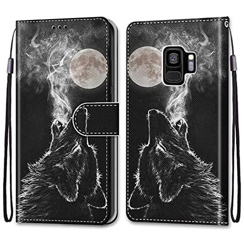 nancencen Kompatibel mit Samsung Galaxy S9 Plus Hülle,Wallet (Karten Slot) Schutzhülle PU Leder Flip Cover TPU Magnetische Handyhülle - Schwarzer Wolf