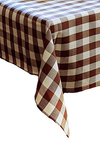 Linge de table avec 2 cm à carreaux en coton – Couleur Marron/Blanc, 100 % coton, Marron/blanc/carreaux, 80x80