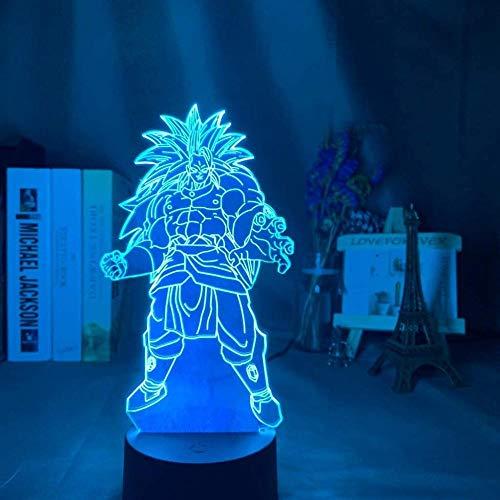 Luz de noche de ilusión 3D - Anime Dragon Ball Broly Lámpara de noche LED - con control remoto regulable - 7 colores - Lámpara de mesa de decoración de dormitorio -Niños Navidad Regalos de cumpleaños