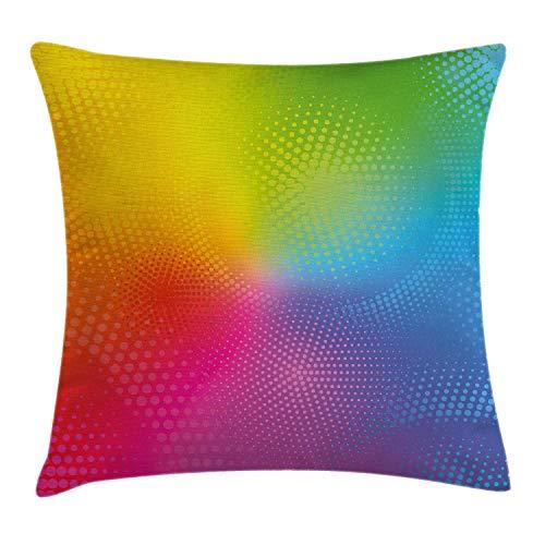 GOSMAO Funda de cojín de Almohada con arcoíris, Colores de neón Vibrantes, círculos, Puntos, composición Radiante, Efecto Iridiscente, impresión, 18 x 18 Pulgadas