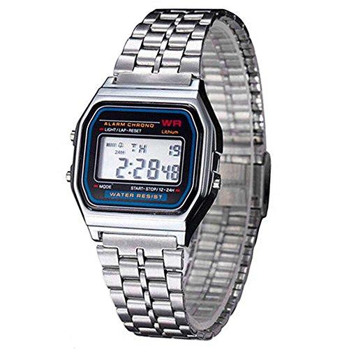 OcioDual Reloj de Pulsera Digital Estilo Clásico Plateado