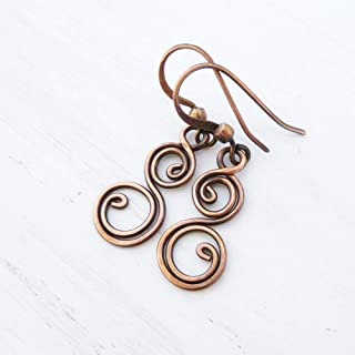 Solid Copper Earrings Small Double Spiral Wire Wrapped Handmade