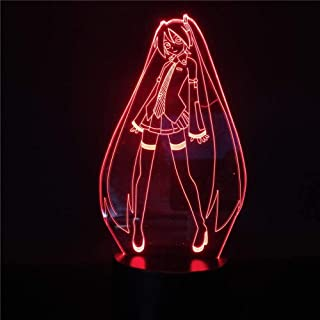 3D Illusion Lamp Hatsune Miku Childrens Night Lights for Girls Birthday Christmas Gifts for Kids Girls Adults Home Wine Ba...