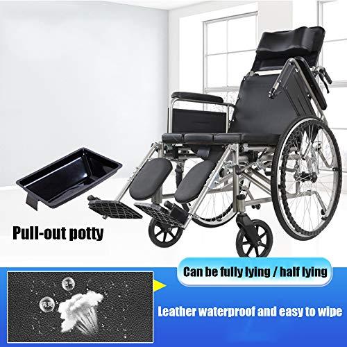 PORU Wheelchair rolstoel ultralichte multifunctionele met hoge rugleuning opvouwbare kan met een eettafel worden gebruikt liggend handmatig geschikt voor ouderen en gehandicapten. A