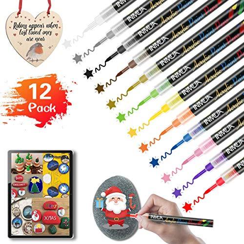 INMUA Acrylfarben Stifte Marker 12 Farben wasserfest stifte für Steine Bemalen, Acrylfarben Stifte für Kinder Bastelset, Holz, Karton, Plastik, Weihnachtskugeln, Leinwand, Fotoalbum…