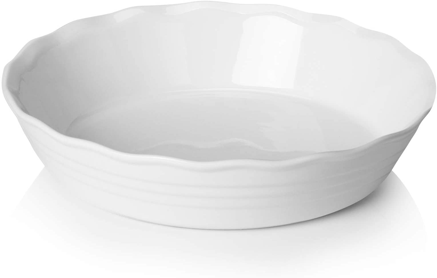 Sweese 516.101 Porcelain Pie Pan, 9 Inches Pie Plate, Round Baking Dish with Ruffled Edge, White