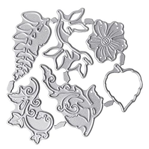 Xiangrun Troqueles de Corte, Troqueles, Plantilla de álbum de Recortes 1 Pieza Plantilla de Estampado de Flores y Hojas Plantilla de Molde de Cuchillo de Estampado de Bricolaje para Corte de Metal