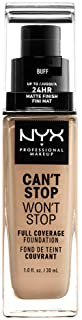 NYX PROFESSIONAL MAKEUP Can't Stop Won't Stop Full Coverage Foundation - Buff (Beige With Neutral Undertone)