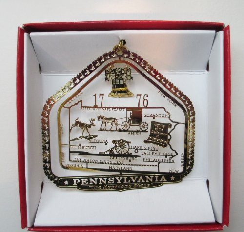 Pennsylvania State Brass Christmas Ornament Souvenir Gift