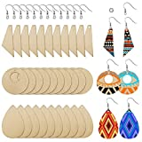 60 Pieces Unfinished Wooden Earrings Pendants Blank Teardrop and Tapered Cutout Pendants with 60 Pieces Earring Hooks and 60 Pieces Jump Rings for DIY Craft Jewelry Making