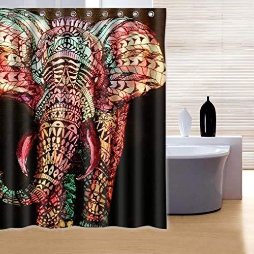 Yongse 180x180cm Waterdichte Kleurrijke Olifant Polyester Douchegordijn Badkamer Decor met 12 Haken