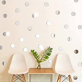 Atulya Arts 100 PCS (3cm Each) Silver Circular Dots Decorative Wall Stickers, 3D Acrylic Stickers for Wall, Mirror Wall St...