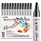 Black Paint Pens, 12 Pack Oil-Based Black Permanent Marker Paint Pen, Never Fade Quick Dry, Waterproof Paint Marker Pen Set for Rocks Painting, Wood, Fabric, Plastic, Canvas, Glass