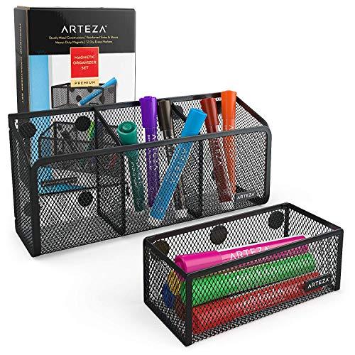 Arteza Magnetische pennenhouder, set van 2 metalen mesh-opbergmand, magazijnrek van gevlochten metaaldraad, organizer-set met 12 gekleurde markers met wigvormige punt, voor whiteboard, koelkast