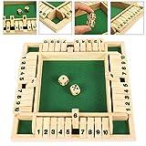 beenle-icey giochi da tavolo giochi in legno,4 giocatori shut the box dice game numero gioco di puzzle giochi di famiglia gioco di società regali per feste di natale (verde)
