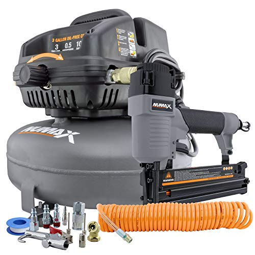NuMax S3GI12CK 3 Gallon 1/2 HP Portable Electric Oil-Free Pancake Air Compressor with 2-in-1 18-Gauge Brad Nailer and Stapler, 25' Air Hose, 11-Piece Inflation Kit, and Fasteners (400 Count) by Fast Arrivals. Compare B07ZTMGCGV related items.