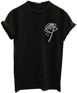 XIAOBAOZITXU Serie Rose Tallas Grandes para Mujer Camiseta Girl Power Flower Rose Camiseta Feminista Camiseta Movimiento