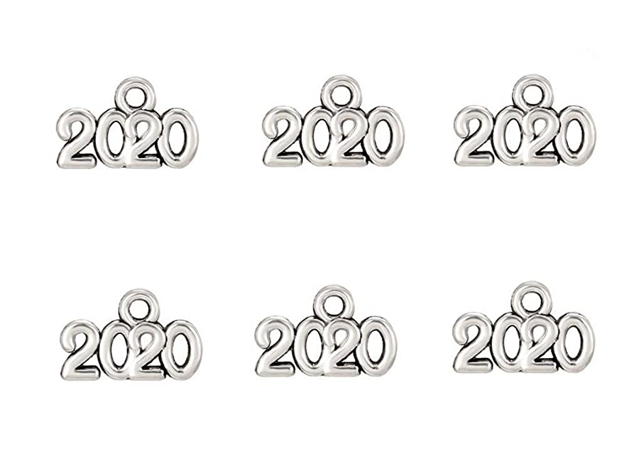Kinteshun Alloy 2020 Year Charm Pendant for DIY Jewelry Making Accessaries(100pcs,Antique Silver Tone)